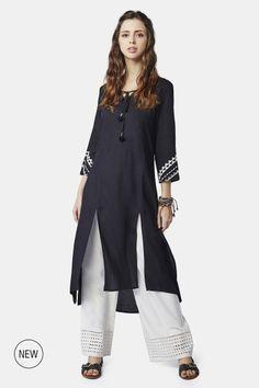 Buy online Kurti - Aideen kurti from Global Desi Black Kurti, Global Desi, Indian Outfits, Indian Fashion, Boho Chic, Women Wear, Tunic Tops, Clothes For Women, Lady