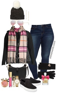 Plus Size Black Vest Outfit Ideas - Alexa Webb - Use Tan Vest Outfit Ideas – Plaid Scarf, Jeans, Plus Size Casual Winter Outfits – Plus Size Fas - Outfits Plus Size, Plus Size Winter Outfits, Winter Outfits Women, Casual Winter Outfits, Casual Fall, Casual Wear, Look Plus Size, Plus Size Casual, Plus Size Jeans