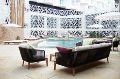Clubchair and sofa from the Mood collection by Tribù at the Hard Rock Hotel Ibiza.