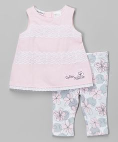 Loving this Pink Lace-Trim Top & Floral Leggings - Infant on #zulily! #zulilyfinds