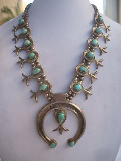 Heavy Vintage NAVAJO Cast Sterling Silver & TURQUOISE Squash Blossom Necklace