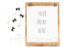 Styled Stock Photography | Wood Frame or Clipboard w/ Black and White Polka Dot Bows | Product Background | Product Photography | Digital by FPstockshop on Etsy