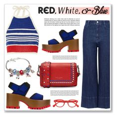 """red,white and blue"" by nanawidia ❤ liked on Polyvore featuring STELLA McCARTNEY, Marc Jacobs, Vika Gazinskaya, See Concept, Napier and Marni"