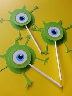 monster's inc cupcake toppers Monster University Birthday, Monster 1st Birthdays, Monster Birthday Parties, Easy Birthday Party Games, Kids Party Games, Birthday Party Decorations, Monsters Inc Baby Shower, Monster Baby Showers, Monster Inc Party