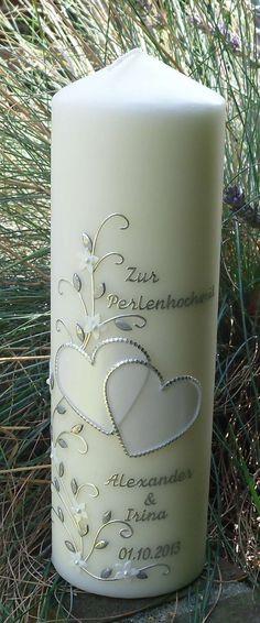 Romantische Hochzeitskerze Perlenherzen