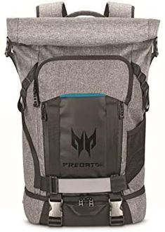 """Amazon.com: Acer Predator Rolltop Gaming Backpack, Water Resistant Lightweight Travel Backpack Fits and Protects Up to 15.6"""" Gaming Laptops, Grey with Teal Accents: Computers & Accessories Lightweight Travel Backpack, Discount Electronics, Teal Accents, Broken Zipper, Laptop Backpack, Acer, Predator, Computer Accessories, Computers"""