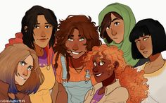 """""""Women of color in Rick Riordan's books (sorry if I forgot someone!)"""" Art by cherryandsisters.tumblr.com. They are such beautiful and incredible girls, and we need to think of them in hard times like now."""