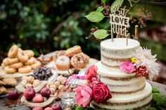 Woodland wedding inspiration dessert table with a naked cake.