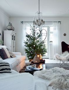 Everyone loves decorating for Christmas, but there's always that fine line between festive and tacky that we daren't cross! We've found some of our favourite Scandinavian-style decorations that will lead you to a classy Christmas. Winter Living Room, Christmas Living Rooms, Christmas Room, Modern Christmas, Beautiful Christmas, Christmas Lights, Christmas Holidays, Living Room Decor, White Christmas