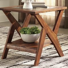 Blending a sleek, geometric design and a warm wood finish, the Charzine contemporary end table feels right at home in so many different living spaces. Diy End Tables, Glass End Tables, Wood End Tables, Small Tables, Side Tables, Wall Storage Cabinets, Storage Shelves, Contemporary End Tables, Contemporary Design