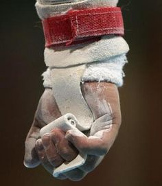 Photo of a gymnastics grip at the 2008 Olympics
