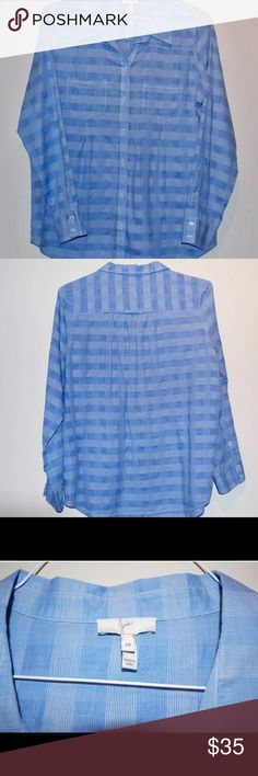 "JOIE Long Sleeve Blue Checks Button Down - Medium Soft and lightweight blue checkered Joie long sleeve button down blouse; size medium. The two breast pockets have pleats for a unique design, and the shirt is long enough to be tucked in dress pants for work or the perfect pair of jeans for happy hour. There is a minor stain on the back towards the bottom of the top (see photo). Measurements while flat - Shoulders: 15"" Chest: 21"" length: 28"" Sleeve length: 24 sleeve width: 7"" wrist cuff: 4""…"