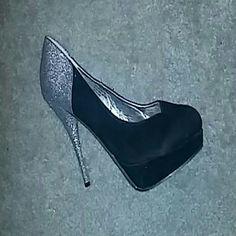 Never worn half glittery half black suede stilleto Black suede heel with glittery heel and back of shoe,platform undertoe area Shoes Heels