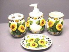 SUNFLOWERS 3D Bathroom Bath Set Sunflowers NEW KMC/KK Sunflower,http:/