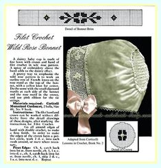 This vintage-style bonnet is just precious. You may not find bonnets amongst the top free crochet hat patterns, but they are beautiful. Try making Filet Crochet Wild Rose Bonnet! All Free Crochet, Crochet For Boys, Crochet Baby Hats, Crochet Slippers, Diy Crochet, Crochet Crafts, Crochet Projects, Baby Slippers, Different Crochet Stitches