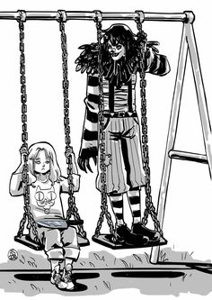 """He grabbed one of the chains with one hand while he held out the other to Lilibeth: """"Give me the knife: I'll give it back when we get home."""" LILIBETH it. Best Creepypasta, Creepypasta Proxy, Creepypasta Characters, Laughing Jack, Jason The Toymaker, Bakugou And Uraraka, Yandere Girl, Monster Boy, Creepy Pasta Family"""