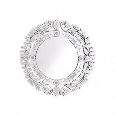Round Floral Glass Mirror