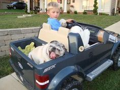 A boy, his Ford truck and his dog