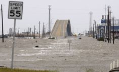 Wow That's Surfside bridge during Hurricane Ike you can see the water line on the bridge