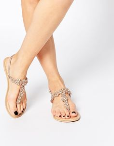 12ed897b0a66c3 ASOS FIJI Wide Fit Embellished Leather Flat Sandals Sandals 2018