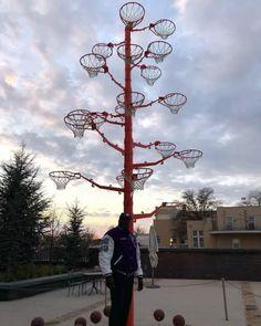 """Shaq's """"Broken Rim Tree"""" made from every hoop he has broken."""