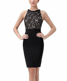 Look at this #zulilyfind! Black Lace-Overlay Tatiana Halter Dress by Phistic #zulilyfinds