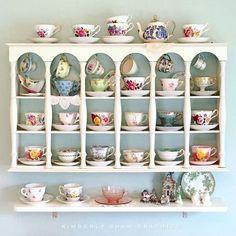 beautiful tea cups collecdtion and tea pot