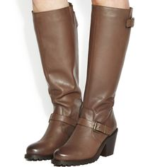 Office Echo Buckle Knee Boots ($77) ❤ liked on Polyvore featuring shoes, boots, brown leather, knee boots, women, brown boots, leather boots, high heel boots, real leather knee high boots and knee high boots