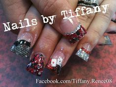 Vegas nails!! With fimo playing cards, rhinestones and lace!