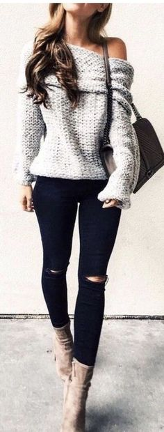 summer outfits Grey One Shoulder Knit + Ripped Skinny Jeans