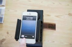 Gotta get it! The Smartphone Film Scanner brings your 35mm into the digital world. Simply mount your smartphone, slide in your film, use a free app to invert the colors and snap a pic! It works with iPhones, Androids and any 35mm negatives. Awesome!