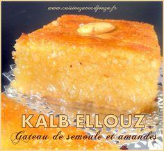 Recette du Kalb el louz au yaourt ou lben avec sa texture fondante bien imbibée d'un sirop au miel. Gâteau de semoule du ramadan, chamia ou harissa est facile