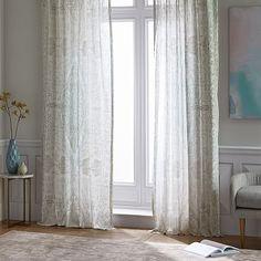 Sheer Cotton Distressed Medallion Curtains (Set of 2) - Pale Harbor #westelm