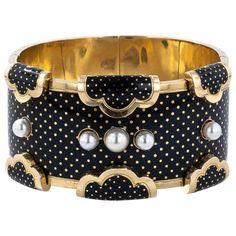 French Polka-Dot Enamel Hinged Bracelet  $ 6,850
