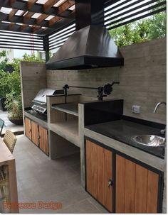 11 Useful Tips for Summer Kitchen Arrangement - Decor Around The World Small Outdoor Kitchens, Modern Outdoor Kitchen, Outdoor Kitchen Bars, Backyard Kitchen, Summer Kitchen, Backyard Patio, Outdoor Bars, Outdoor Patios, Outdoor Pergola