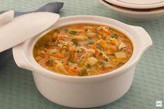 Sopa de frango com alho-poró