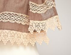 Long Linen Scarf Vintage French Lace Natural Brown Beige chocolate  neutral