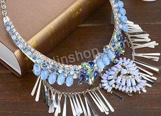 Mode Statement Halskette, Zinklegierung, mit Eisenkette & Kristall & Acryl, Platinfarbe platiniert, Oval-Kette & mit Strass, farbenfroh, fre...