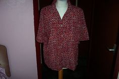 Red Patterned Workwear Blouse Top Shirt by Alexandra UK16