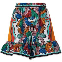 Emilio Pucci Bermuda Silk Ruffle Hem Shorts (3.108.590 COP) ❤ liked on Polyvore featuring shorts, emilio pucci, ruffle hem shorts, print shorts, patterned shorts and silk shorts