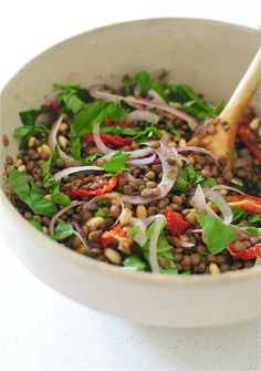 Mediterranean Lentil Salad - French green lentils, red onion, fresh parsley, fresh basil, sun-dried tomatoes, capers, toasted pine nuts (might omit), grapeseed/extra-virgin olive oil (would omit), fresh lemon juice, fresh Parmesan shavings (optional), salt  pepper