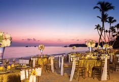 With a beautiful sunset in the background the beach is a perfect spot for your reception for up to 300 people #dreamspalmbeach