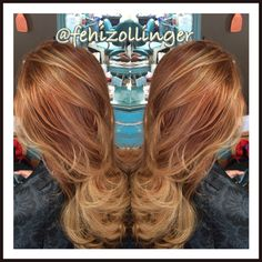 Red copper balayage ombre.