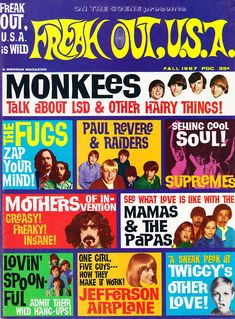 Freak Out USA, Fall (The Monkees; The Fugs; Paul Revere and the Raiders; The Supremes; The Mothers of Invention; Mamas and the Papas; The Lovin' Spoonful; Rock N Roll, Poster Art, Paul Revere, Music Magazines, Teen Magazines, Vintage Magazines, The Monkees, Frank Zappa, Freak Out
