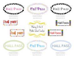 Classroom Freebies Too: Hall Passes ~ 20 Designs