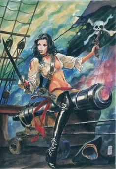 Art by Milo Manara Pirate Art, Pirate Life, Pirate Wench, Pirate Woman, Milo Manara Art, Pirate Girl Tattoos, Pinup, Serpieri, Pirates Cove