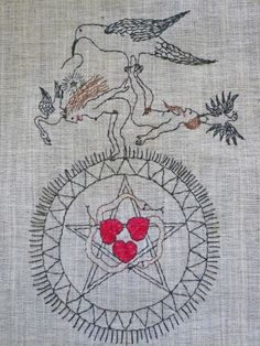 Temporal Paradox - Mavis Leahy - embroidery on vintage linen - $140 - SOLD