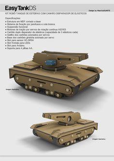 EasyTankDS Kit Tanque Robótico para Arduino com Canhão Disparador de Elásticos.