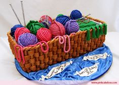 This is the perfect cake for knitters.  Edible yarn and basket.