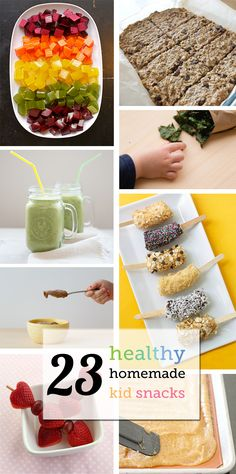 23 Healthy Homemade Kid Snacks 23 of our all time favorite healthy snacks to make for kids all in one place! Kale chips, granola bars, smoothies and more! Healthy Snacks To Make, Tasty Snacks, Healthy Kids, Do It Yourself Food, Snacks Saludables, Cookies Et Biscuits, Kid Friendly Meals, Baby Food Recipes, Snack Recipes